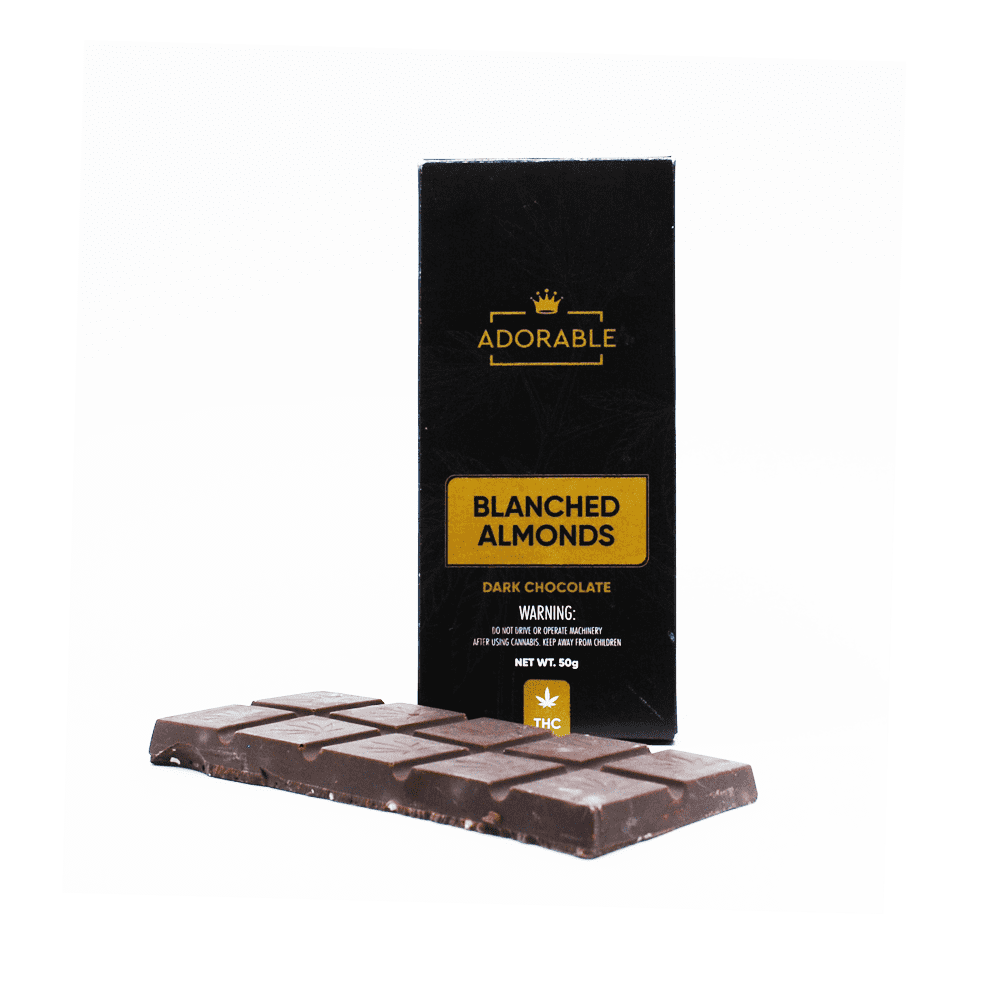Adorable Blanched Almonds Dark Chocolate Bar - 200mg