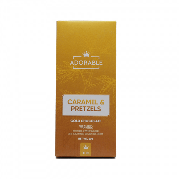 Adorable Caramel & Pretzels Gold Chocolate Bar - 200mg