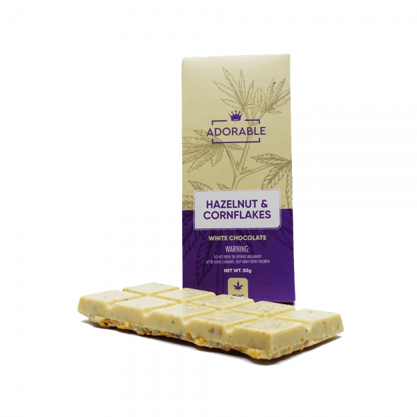 Adorable Hazelnut & Cornflakes White Chocolate Bar - 200mg